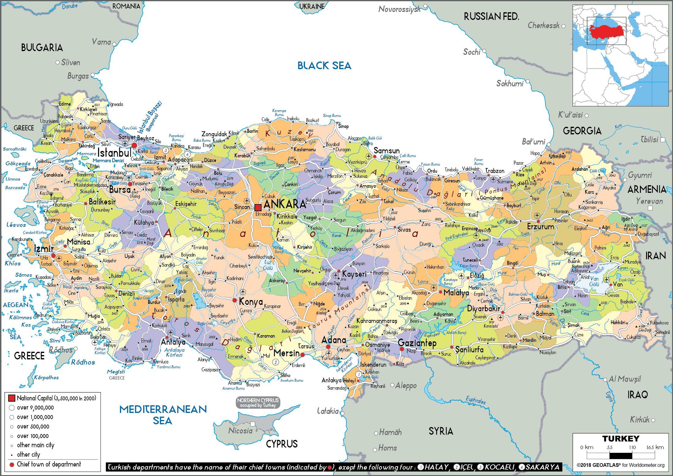 Politische Karte Asien.Türkei Politische Landkarte Karte Von Der Türkei Politischen West