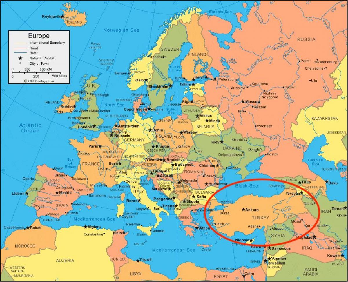 Karte Europa Asien.Turkei Landkarte Europa Karte Von Der Turkei In Europa